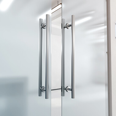 Glass doors with wide handles