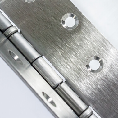 Close shot of a metal hinge